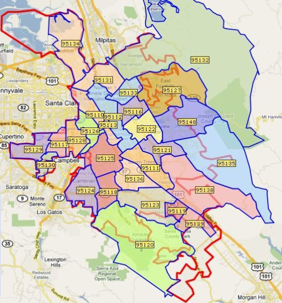 Map of Zip Codes in San Jose CA